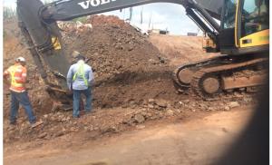 Trabajo de infraestructura sanitaria en Loma Brown